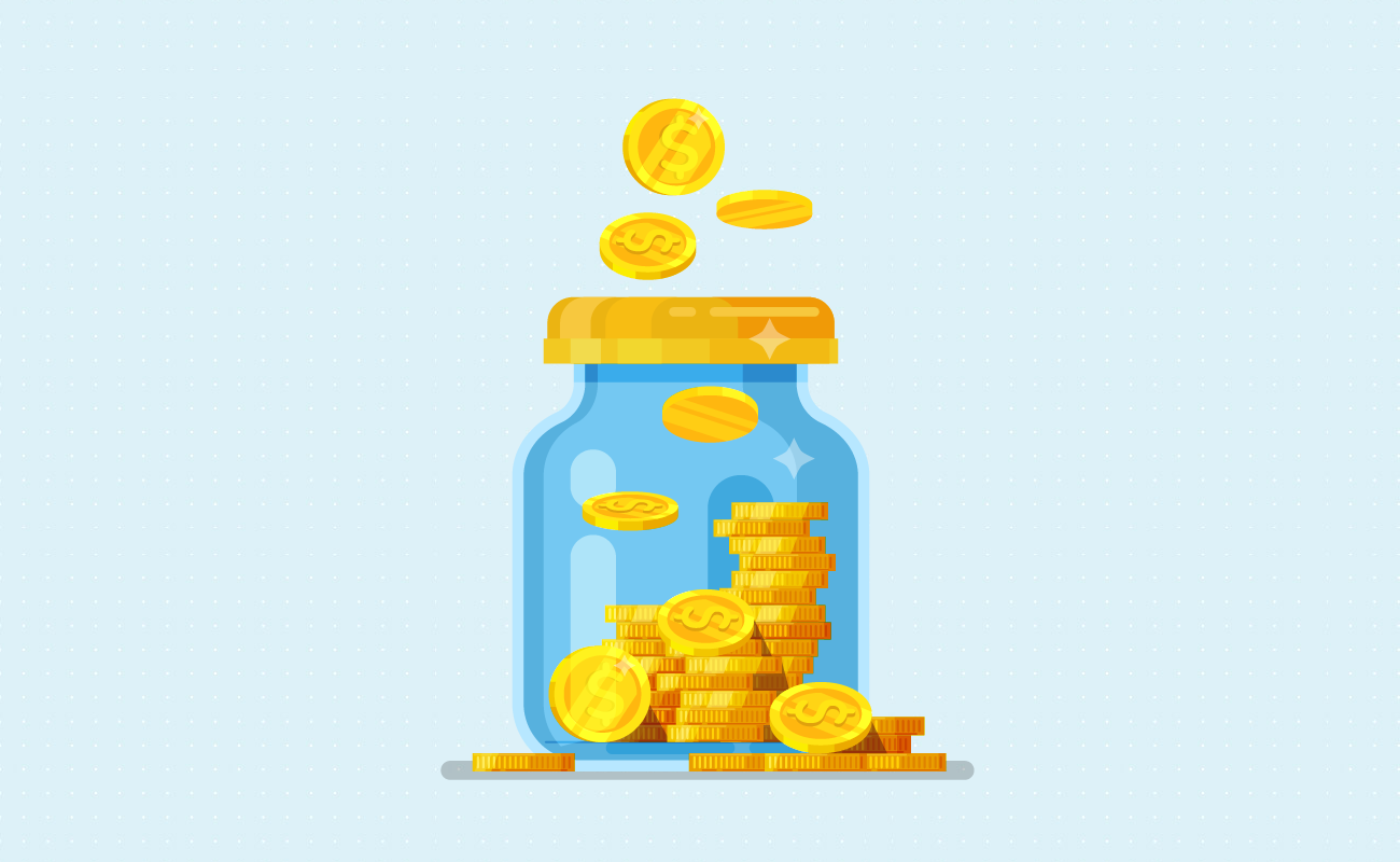 Stacks of coin in a jar.