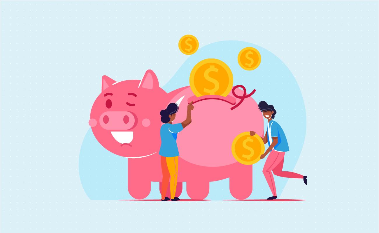 Successful piggy bank savings