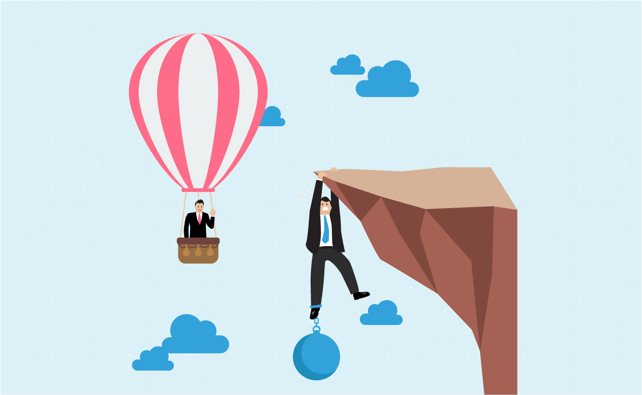 Two businessmen. One is on a hotair balloon and one is on a cliff