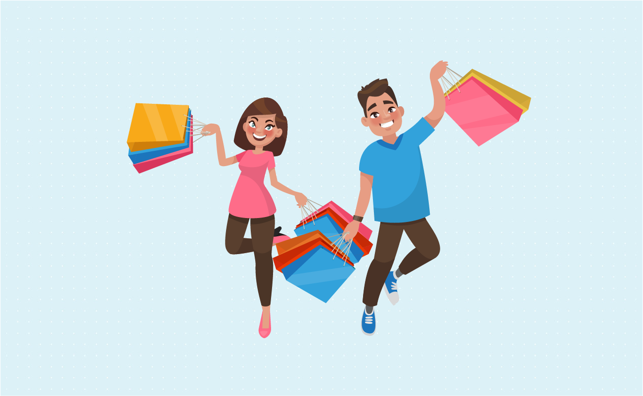 Two people cheering while shopping.