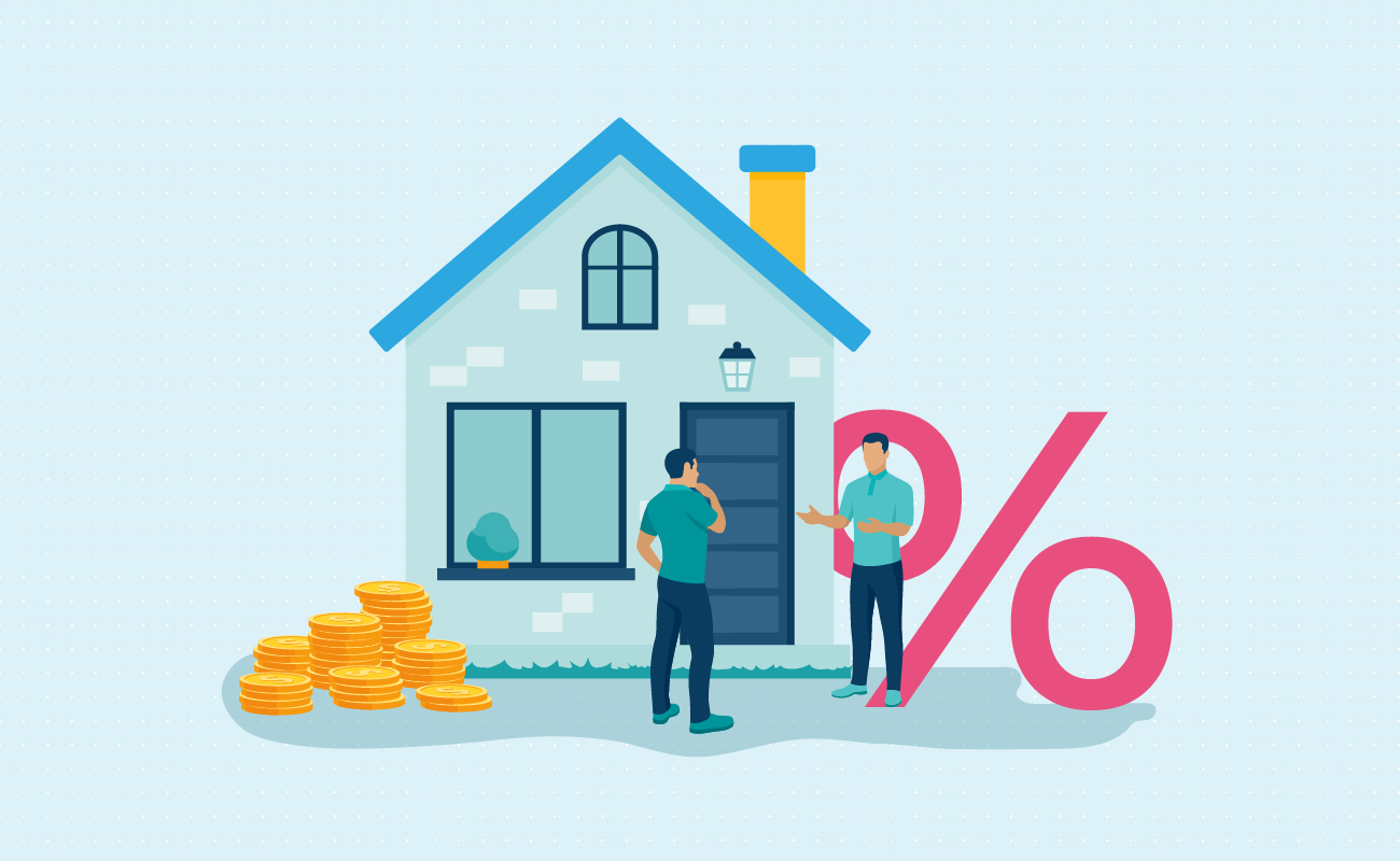 Two people talking about percentage and houses.