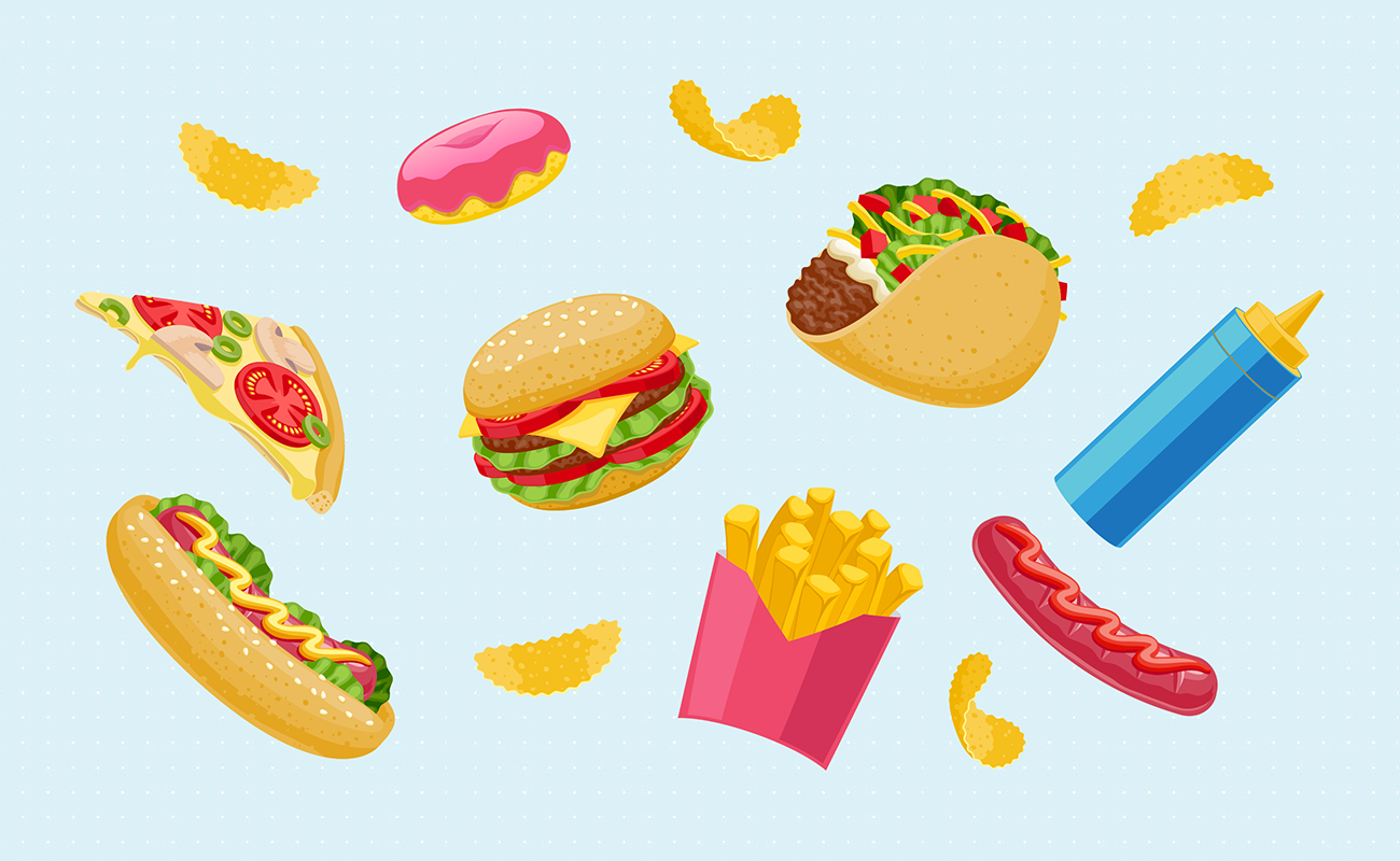 Variety of fast food menu