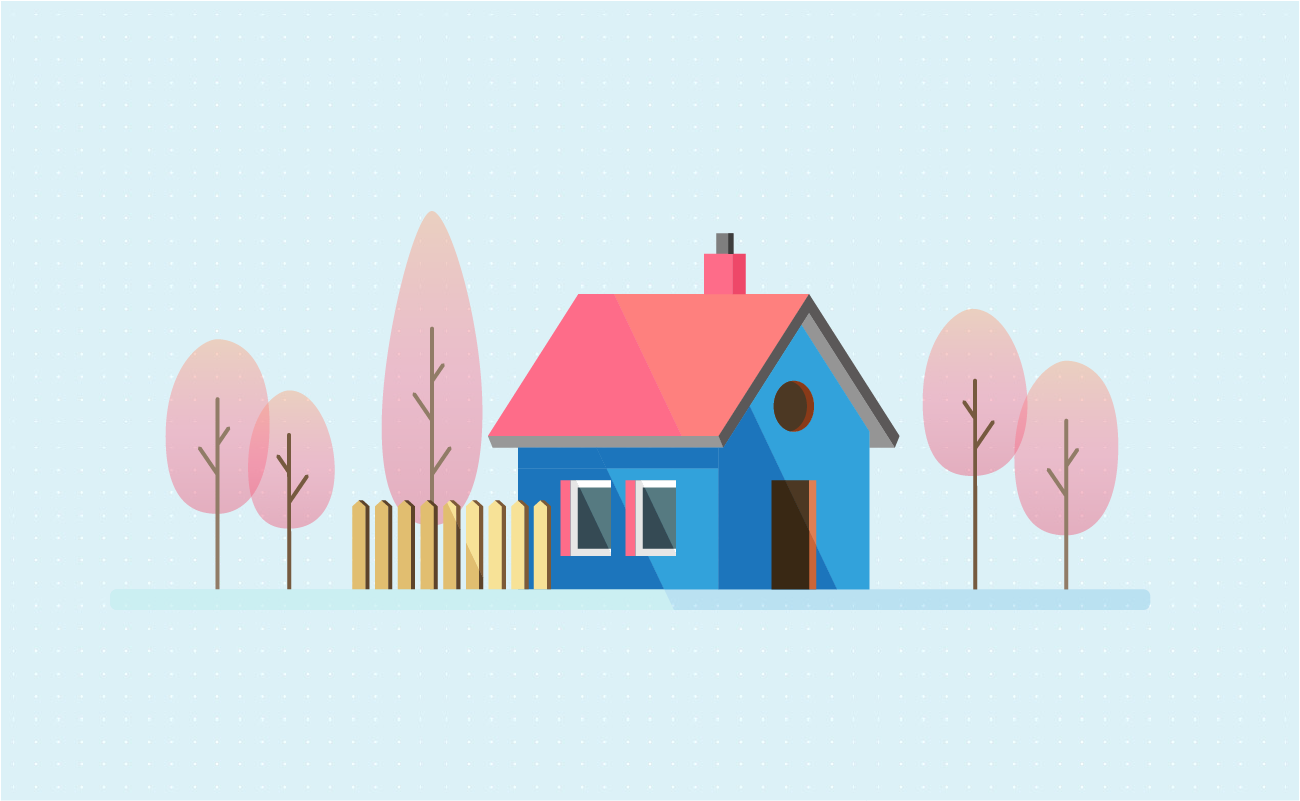 Simple house surrounded by trees
