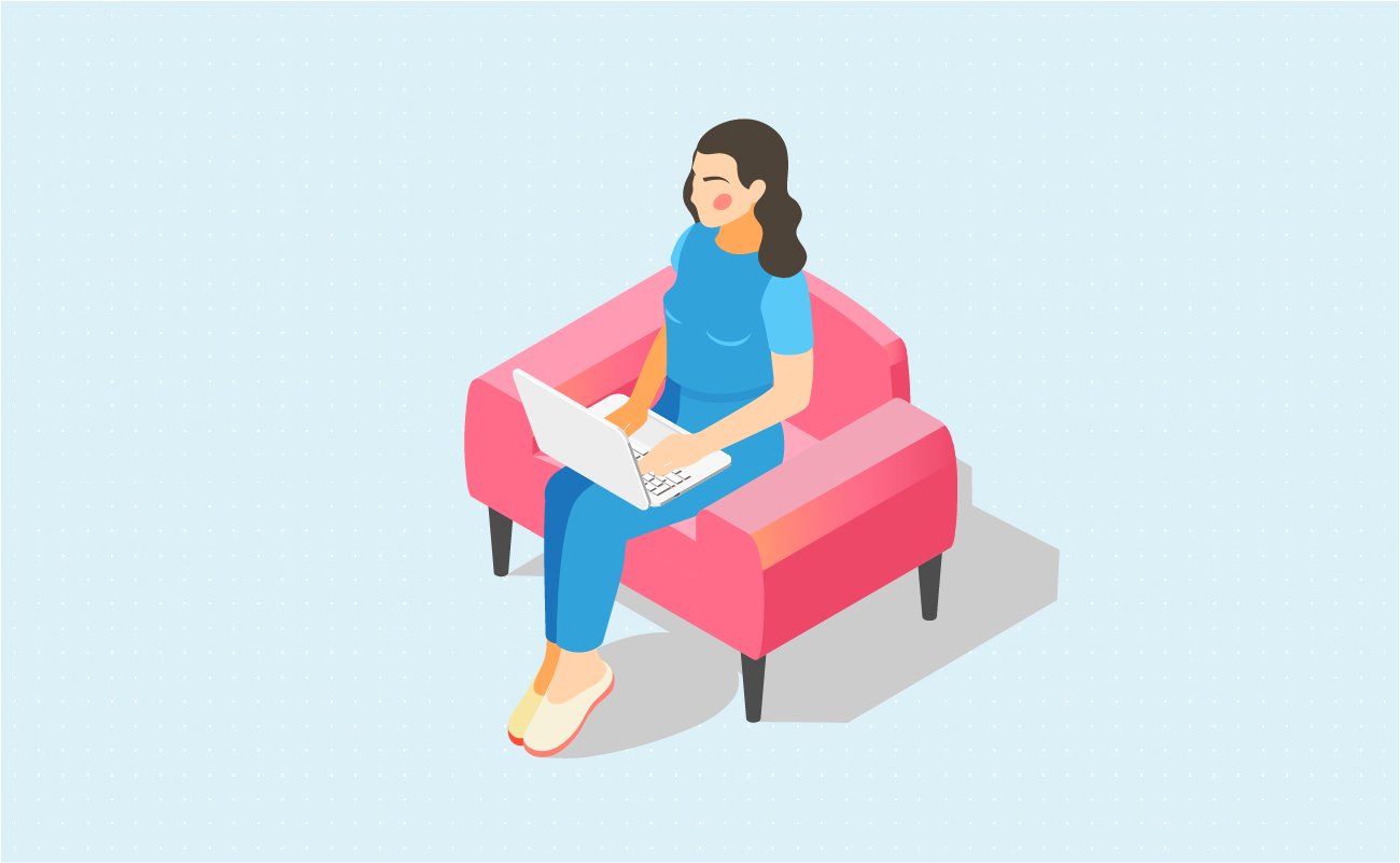 Woman sitting at a sofa relaxing